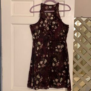 Burgundy floral mini dress